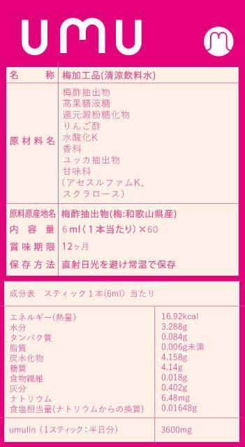 ウムリン低糖質タイプ成分表